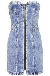Debbie Zip Front Denim Dress by Topshop Archive