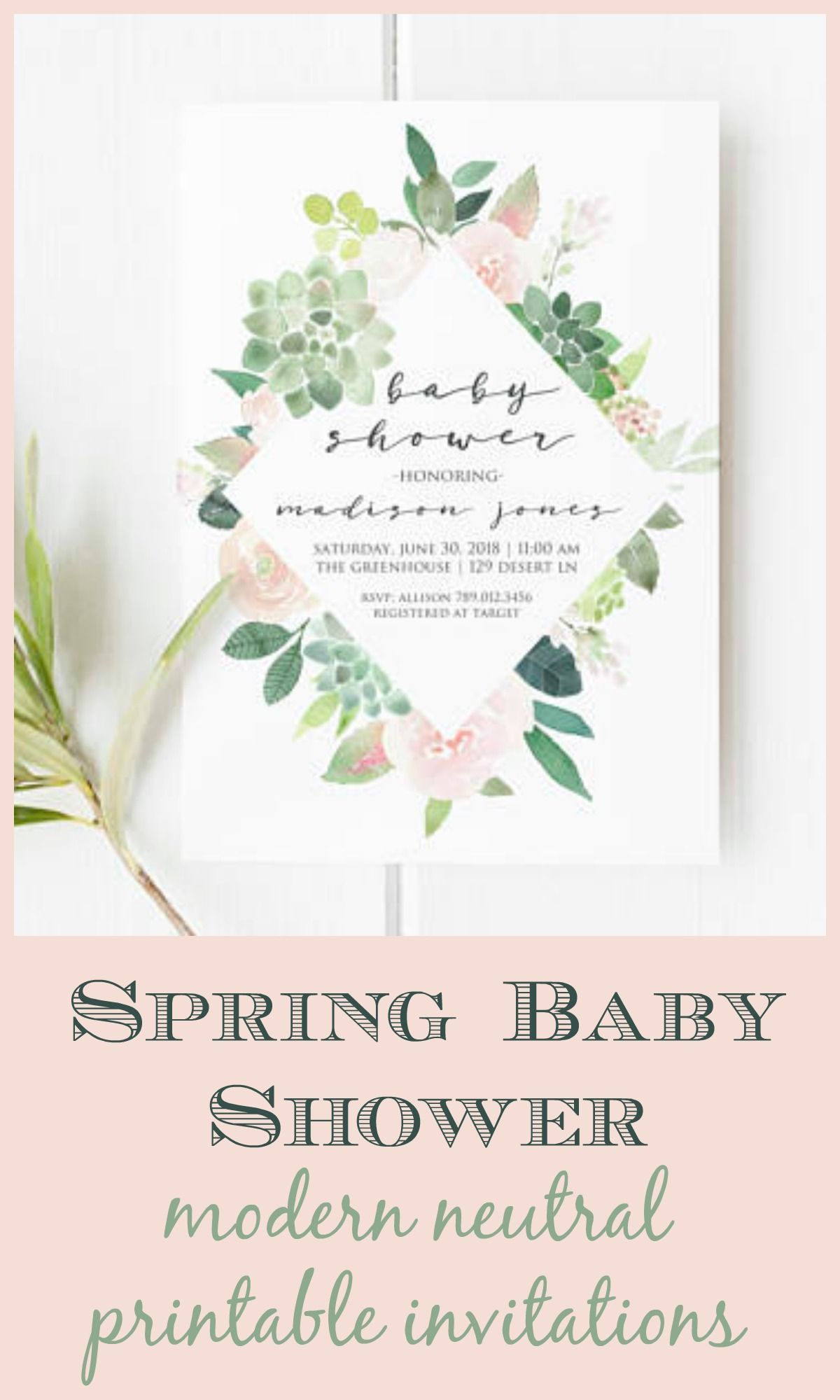 simple modern invitation for a gender neutral spring baby