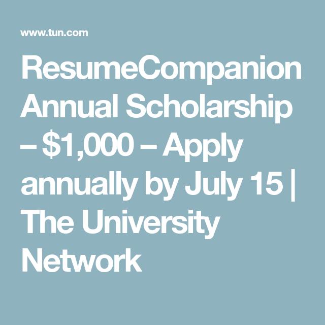Resumecompanion Annual Scholarship 1 000 Apply Annually