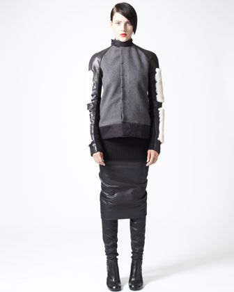 Mink-Trim Motorcycle Jacket, Long Ribbed Sweater & Ruched Leather Pencil Skirt by Rick Owens at Bergdorf Goodman.