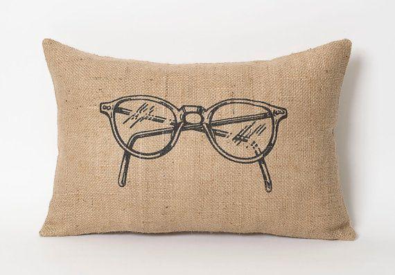 Burlap Pillows Lumbar Style  Glasses Hipster Hand by natuurdesign, $35.00