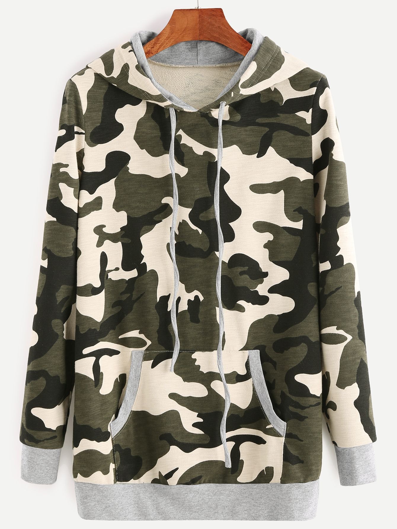 Shop Camouflage Print Drawstring Hooded Sweatshirt With Pocket online. SheIn offers Camouflage Print Drawstring Hooded Sweatshirt With Pocket & more to fit your fashionable needs.