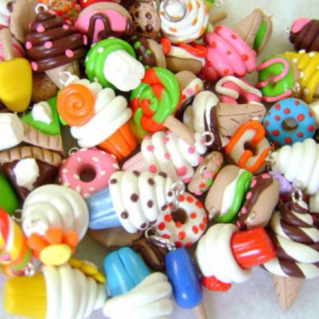 CUTE KAWAII POLYMER CLAY CHARMS!!!!!!!! For some reason these make me happy.......