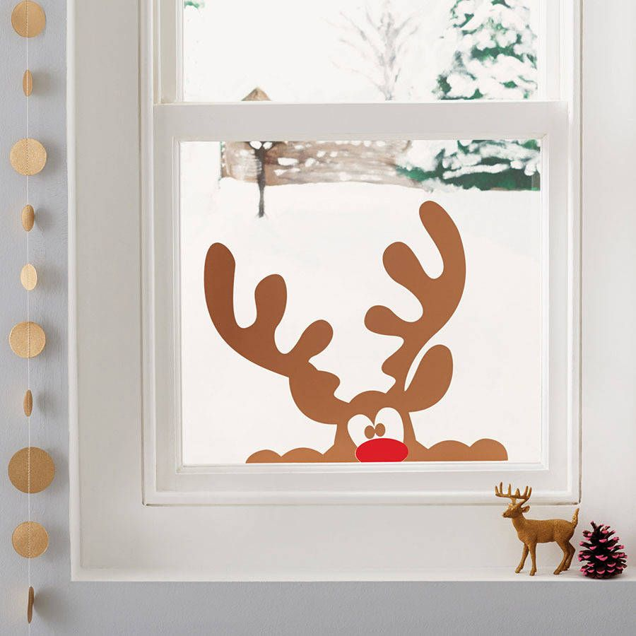 Peeping reindeer window sticker red nose and window peeping reindeer window sticker amipublicfo Images