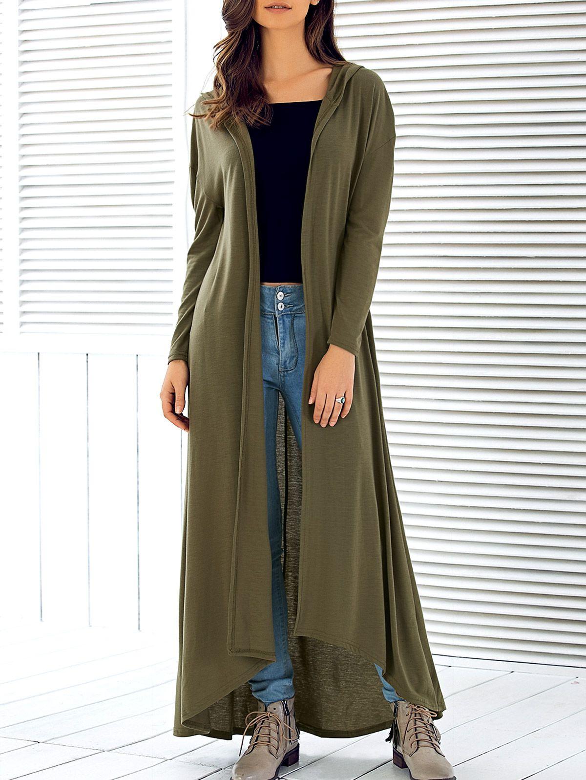 Hooded maxi long duster cardigan maxi cardigan long sleeve maxi
