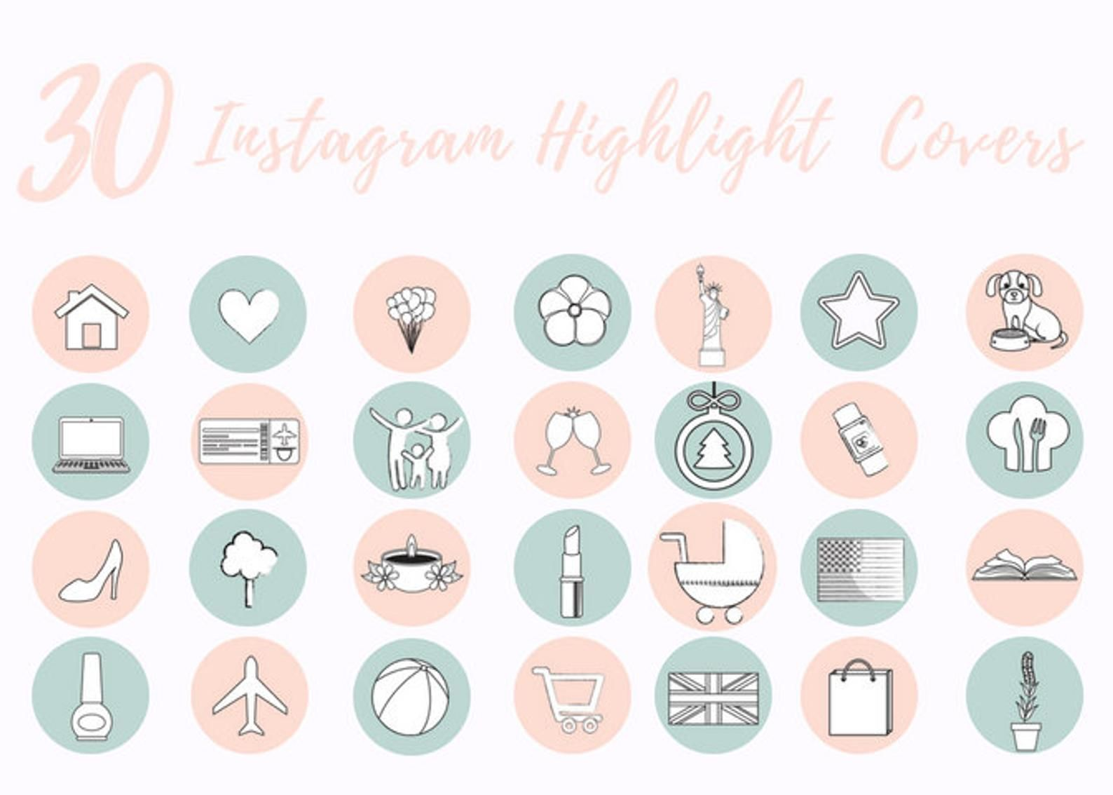 30 Instagram Story Highlight Icons Pastel Pink And Mint Icon Etsy In 2020 Instagram Highlight Icons Instagram Story Instagram Icons