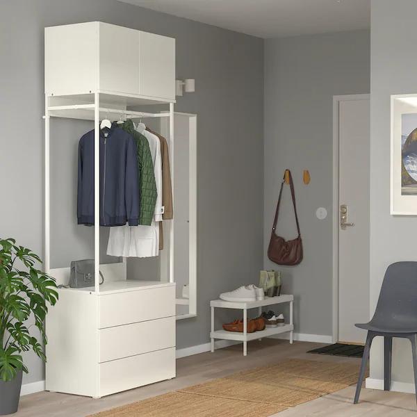 PLATSA Wardrobe with 2 doors and 3 drawers, white, Fonnes bi …