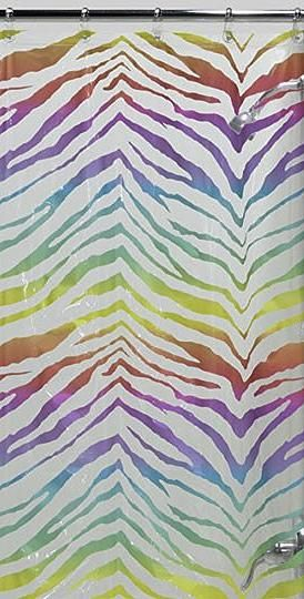 Our Zebra Rainbow Print Vinyl Shower Curtain Will Instantly Liven