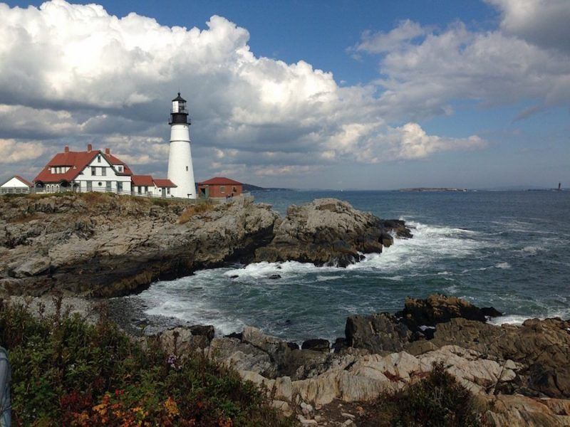 A lighthouse on the Maine Coast