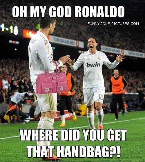Real Madrid Ronaldo Ozil Handbag Soccer Jokes Funny Sports Memes Funny Sports Pictures