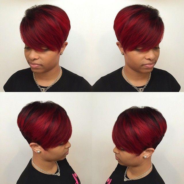 Atlanta Based Stylist Hairbylatise Rich Reds Cus Instagram Photo Websta Short Weave Hairstyles Quick Weave Hairstyles Short Hair Styles