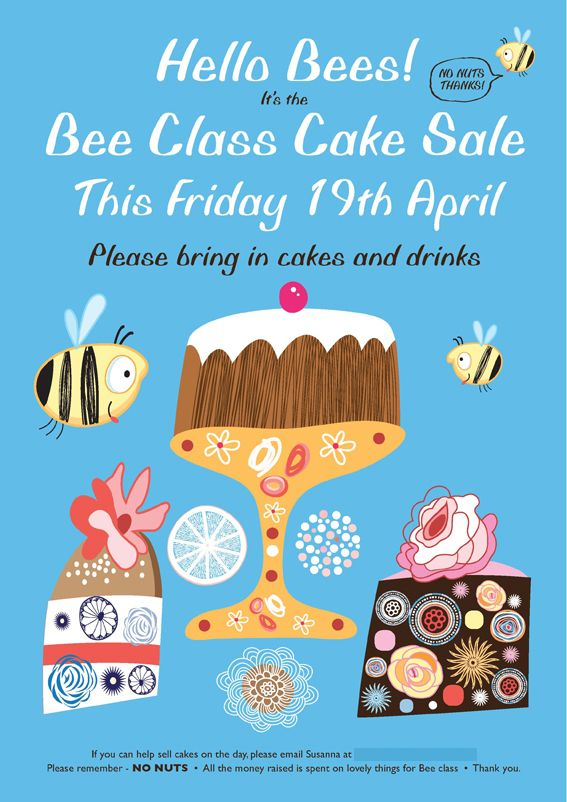 Bee Class Cake Sale Poster  Design    Sale Poster