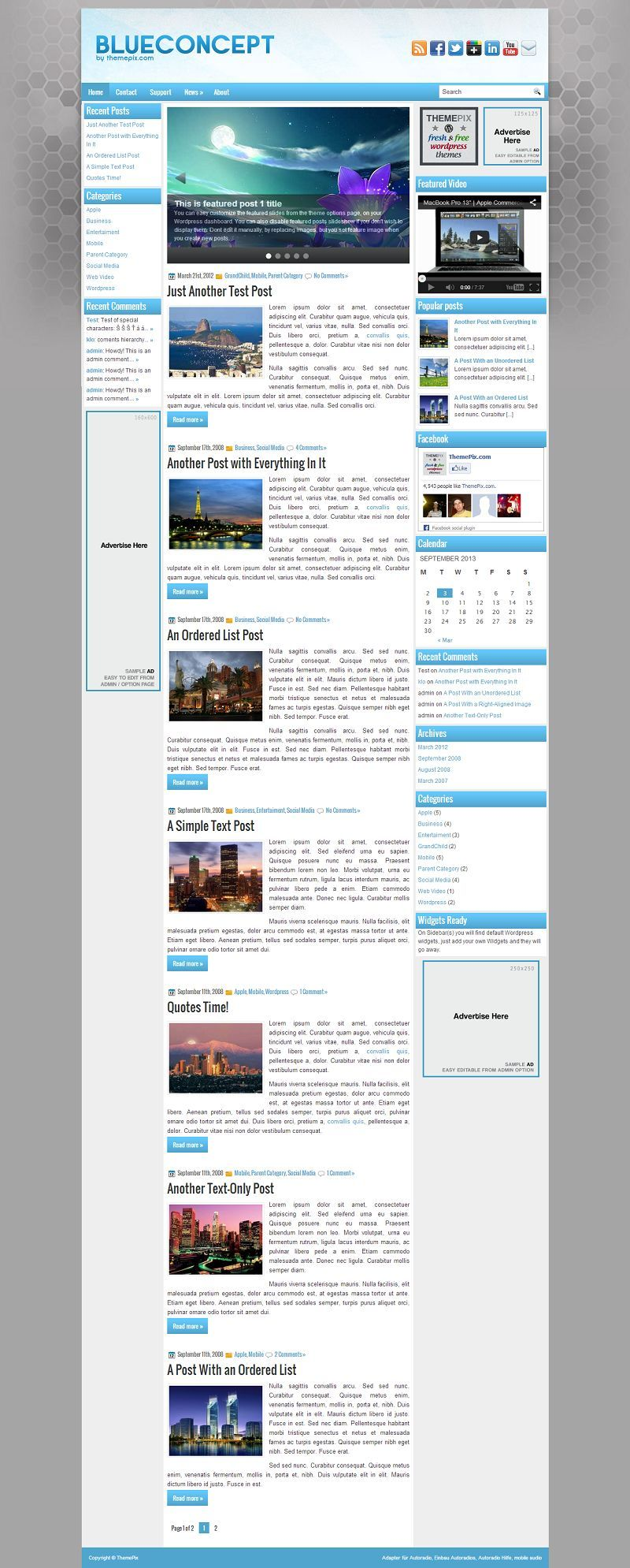 BlueConcept - Download Free WordPress Theme by ThemePix   Free ...