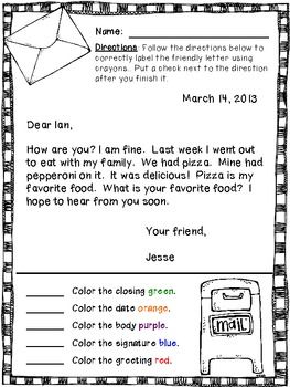 Friendly Letter Format First Grade