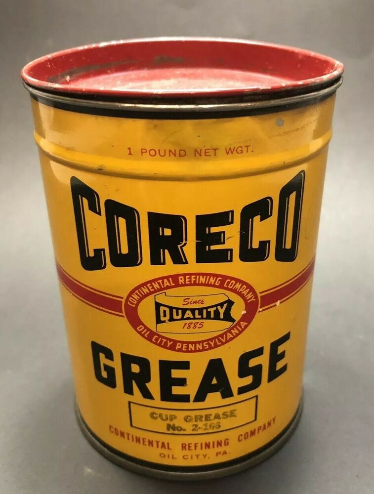 Vintage Coreco Cup Grease Can Continental Refining Company Excellent