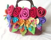 Felted Flowers Bag Knitting Pattern Tutorial pdf, Knit Felt Flower Pattern, Knit Felt Bag Pattern
