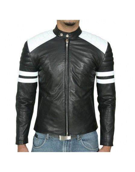 6356a5edd Black Biker White Stripes Mens Nappa Leather Jacket 2017 sale price ...