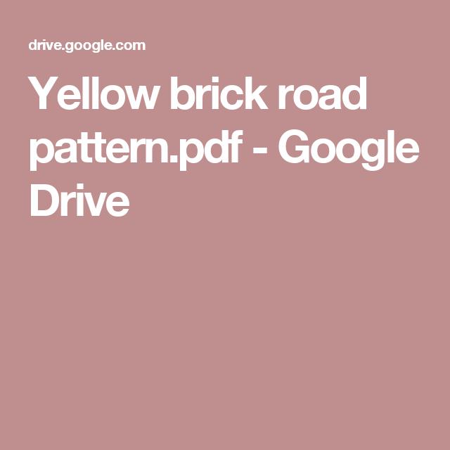 Yellow Brick Road Pattern Pdf Google Drive Sewing Machine Sewing Machine Cover Sewing