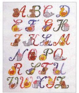 Alfabetos Delicados para Bebês em Ponto Cruz
