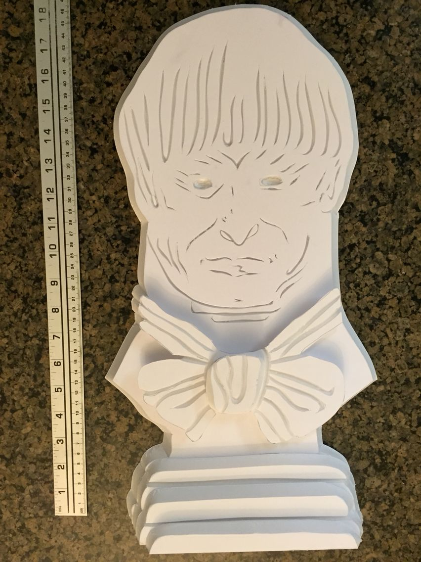 My own props :Haunted mansion library bust before painting ...
