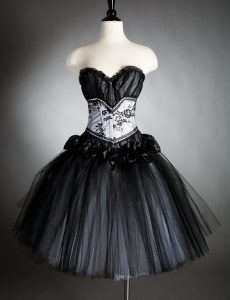 66f1ec84b3b Black and White Layered Tulle Short Gothic Emo Prom Dress