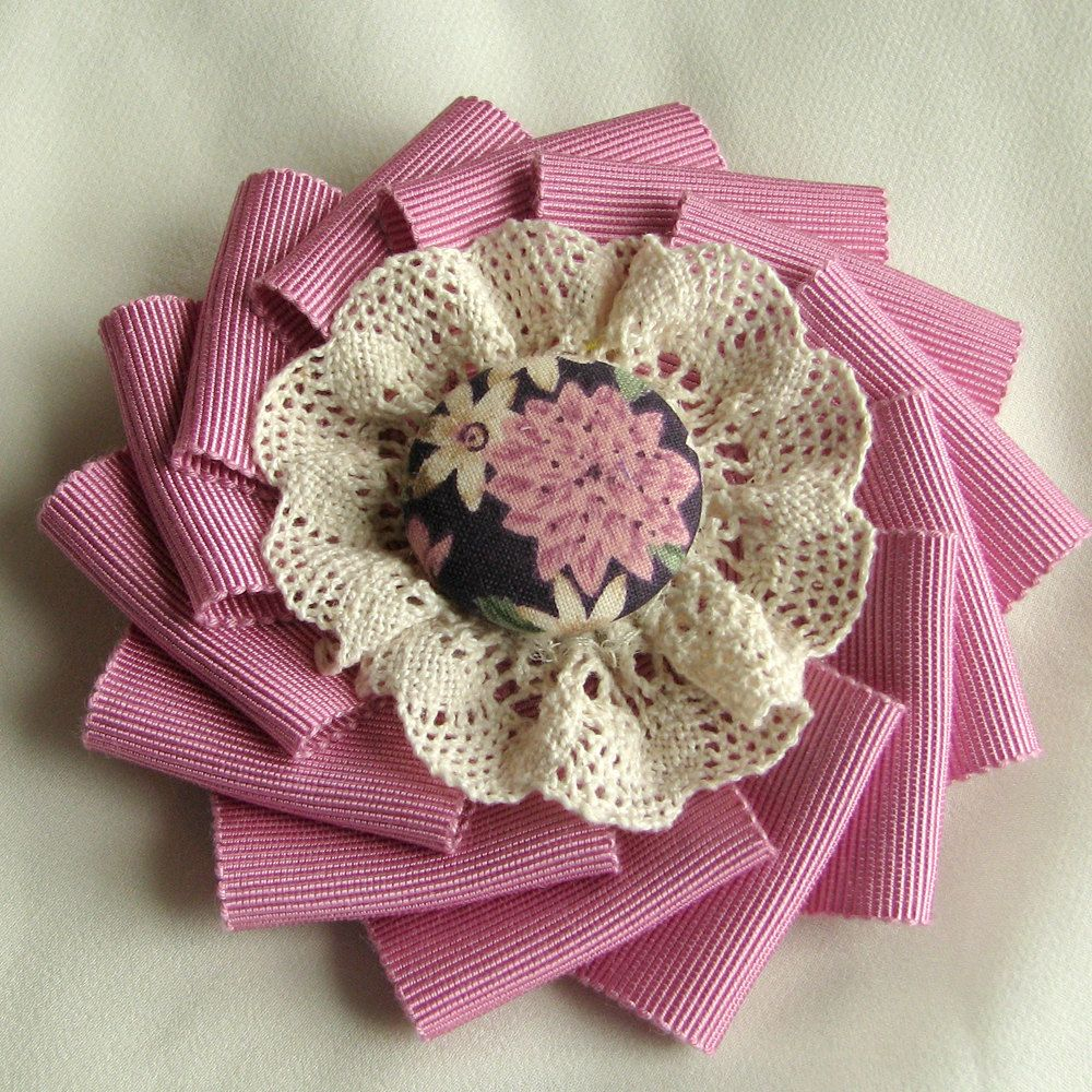 Brooch Pink Ribbon Cocarde With Ecru Lace And Fabric Covered