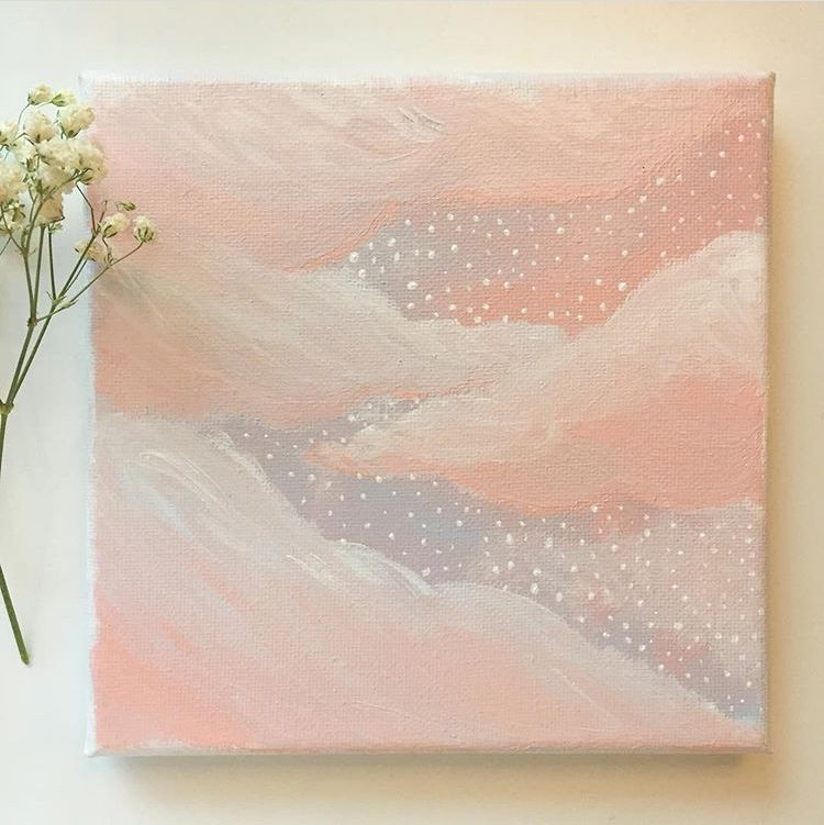 Pink Painting Clouds Canvas Painting Diy Flower Painting