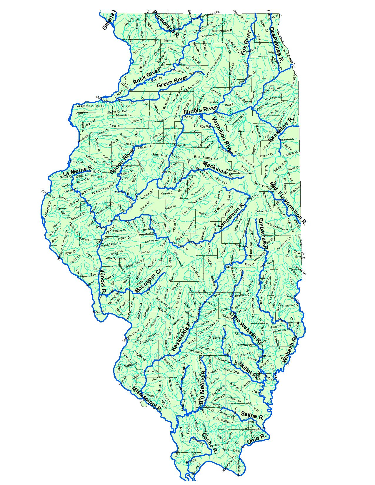 Illinois Rivers Map