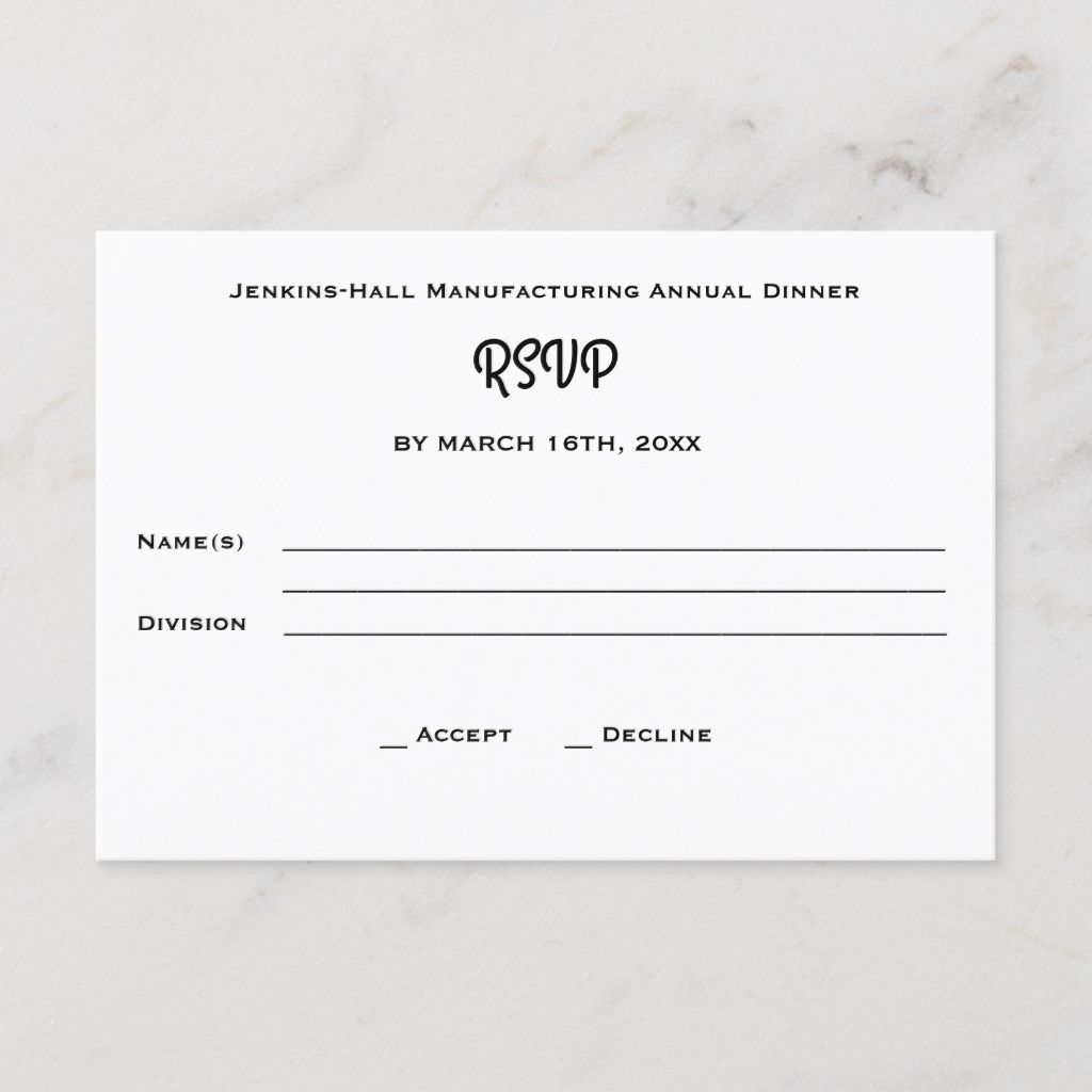 Accept or decline RSVP response card perfect for your next corporate, business, non-profit, holiday, charity, or appreciation banquet, reception or other event. Our template is designed for easy completion with your own information. To change fonts or other composition, click on