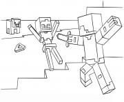 minecraft steve vs skeleton coloring
