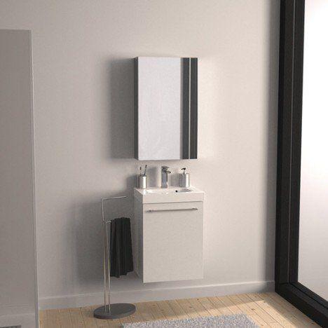 Meuble sous vasque l 46 x h 57 7 x p 33 cm blanc sensea remix