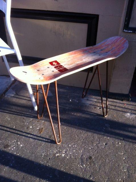 Diy Skateboard End Table In 2019 Skateboard Furniture Skateboard Decor Skateboard Room