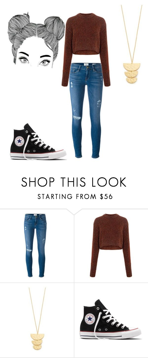 """""""my burgundy sweater"""" by valerie278 ❤ liked on Polyvore featuring Frame, TIBI, Gorjana and Converse"""
