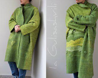 Women coat, nuno felted coat, wearable art, designer coat