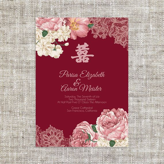 DIY Printable\/Editable Chinese Wedding Invitation Card by ImLeaf - format for invitation