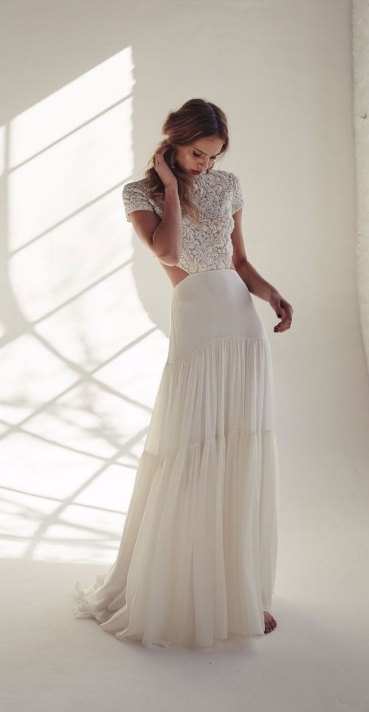 Short sleeves Lace wedding dress separates ,two piece bridal gowns, 2 piece bridal gowns #croptop #weddingdress #wedding