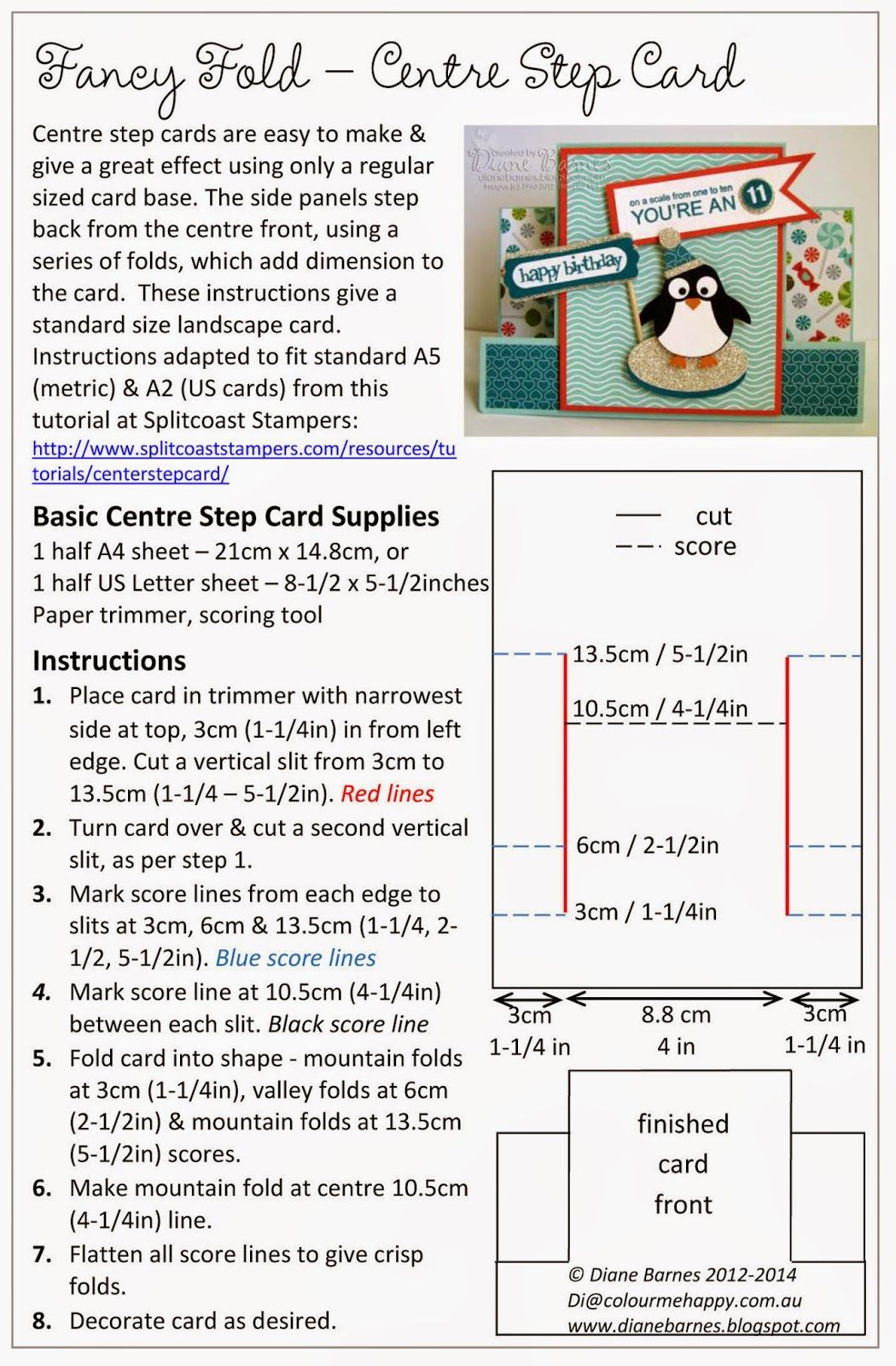 Centre Step Card Instructions Using All Stampin Up Supplies By Di Barnes Colourmehappy Center Step Cards Step Cards Side Step Card