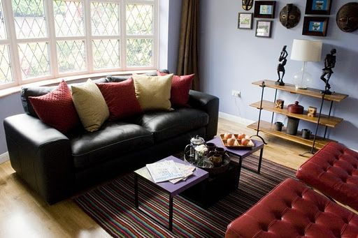 Black Leather Couch Decorating Idea Living Room Living