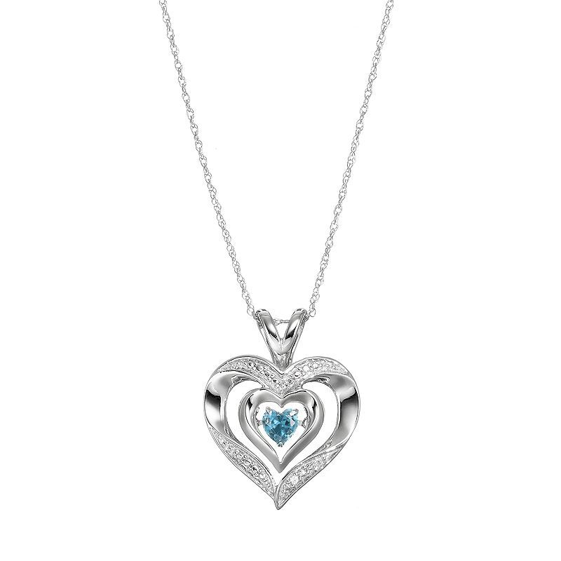 Sterling Silver Rhodium Created White Sapphire /& Heart Cut Sky Blue Topaz 18 Necklace