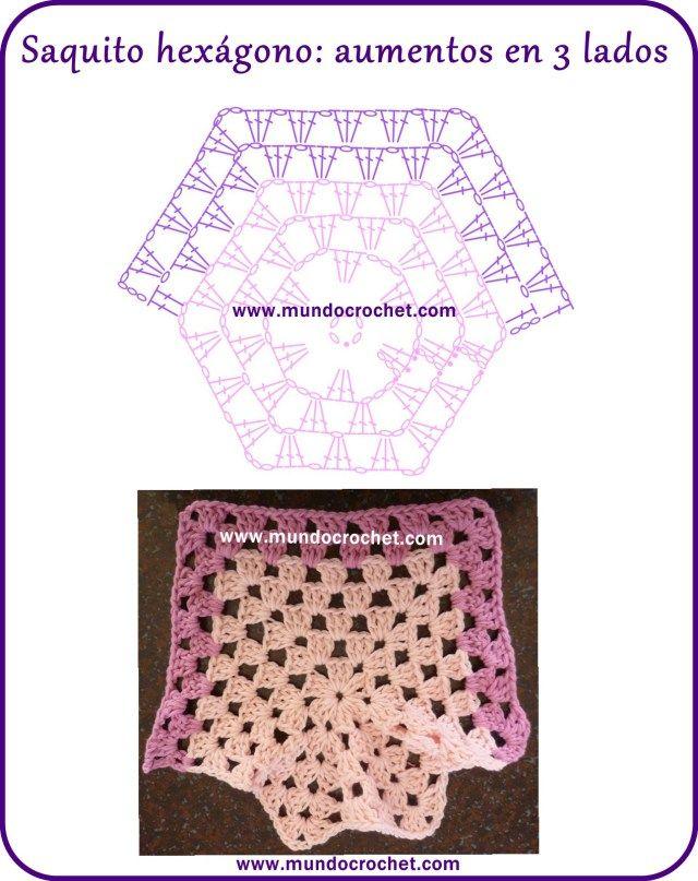 Patron campera o saquito tejida con 2 hexagonos a crochet o ...