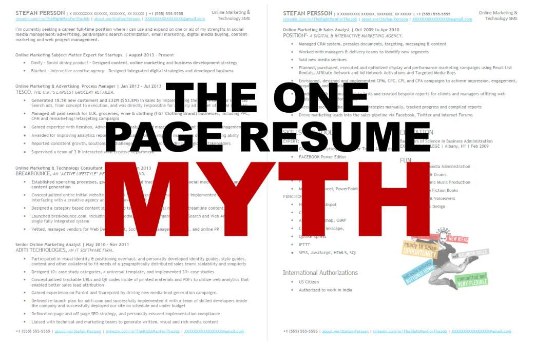Why You Shouldnu0027t Cram Everything Into One PageUpdates to - one page resume
