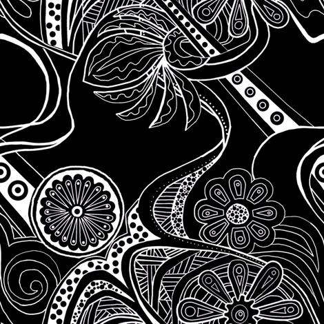 Black Zendaisies  fabric by droyal on Spoonflower - custom fabric