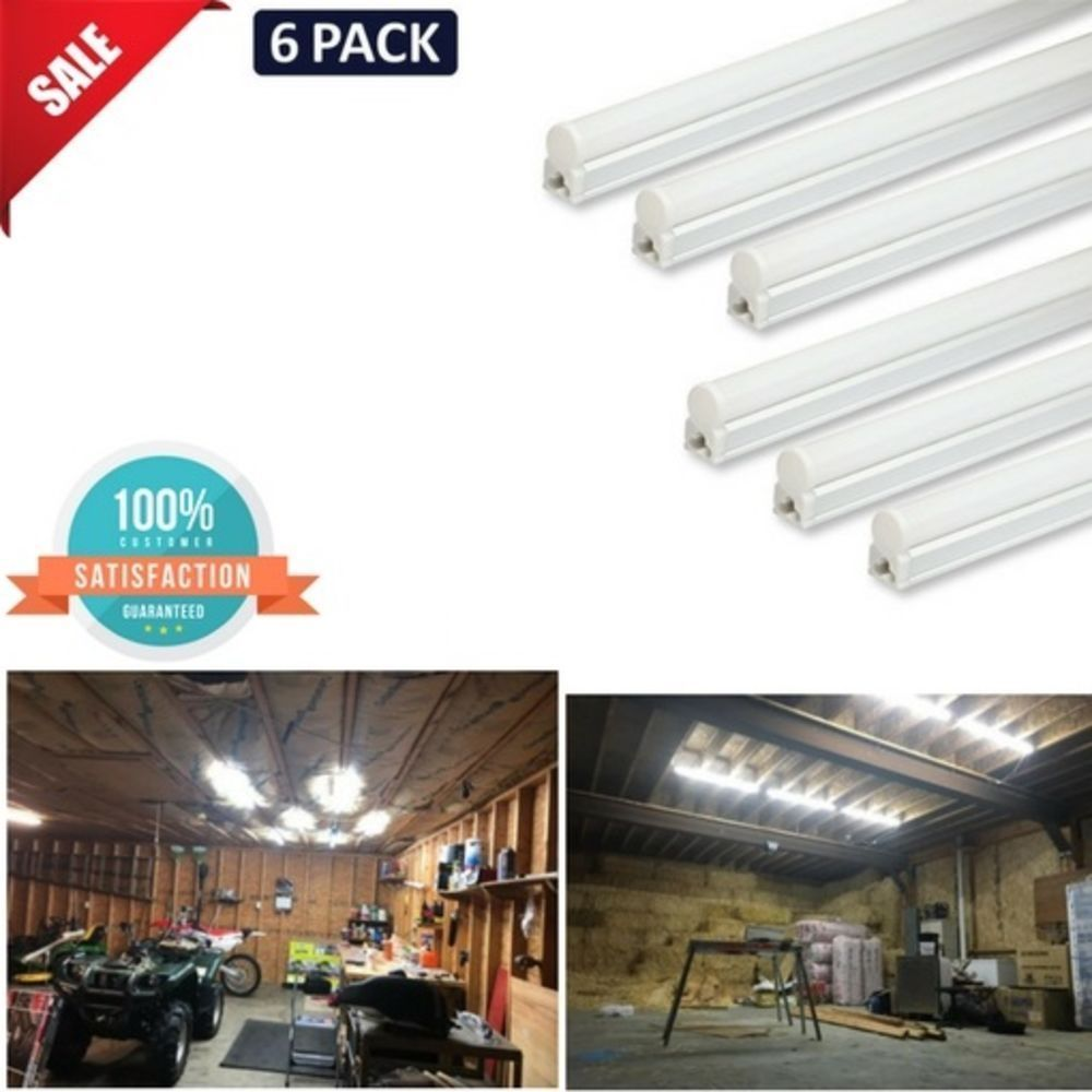 6 T5 Super Bright White Led 6500k Garage Ceiling Lights Corded W On Off Switch Barrina Led Shop Lights Bright White Led Shop Lighting