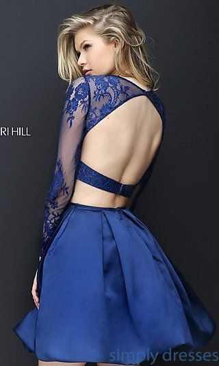 2016 Sherri Hill 50533 Navy Two Piece Lace Homecoming Dress :  StylishPromPown :: High Quality Authorized