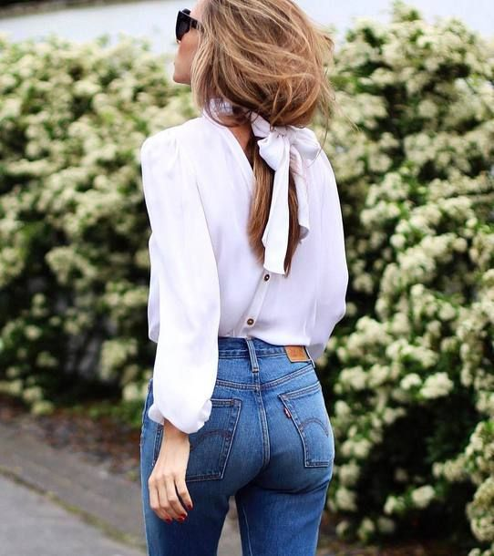 Shirt: tumblr white long hair brunette denim jeans blue jeans bow bow top