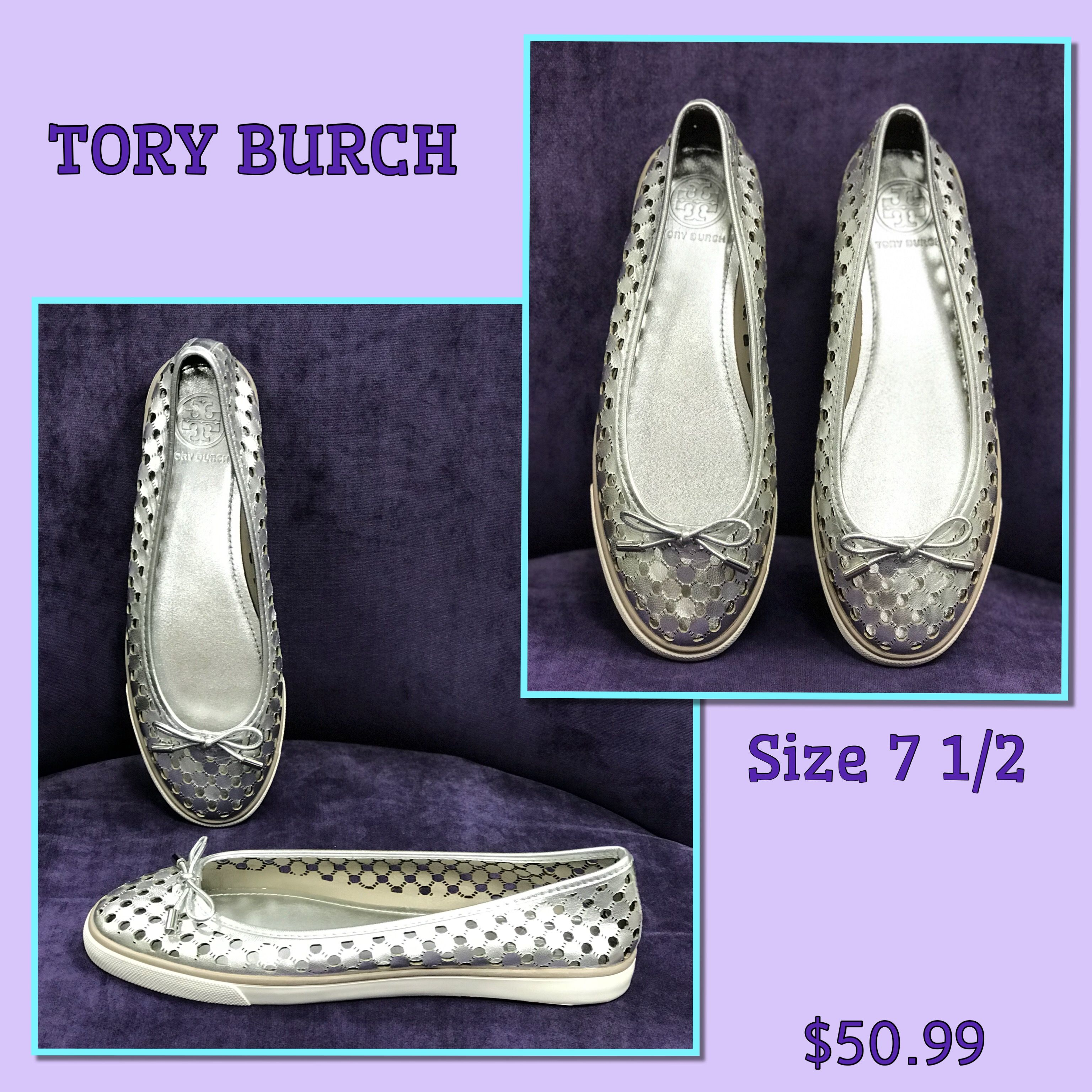 These adorable tory burch silver metallic sneakers size are