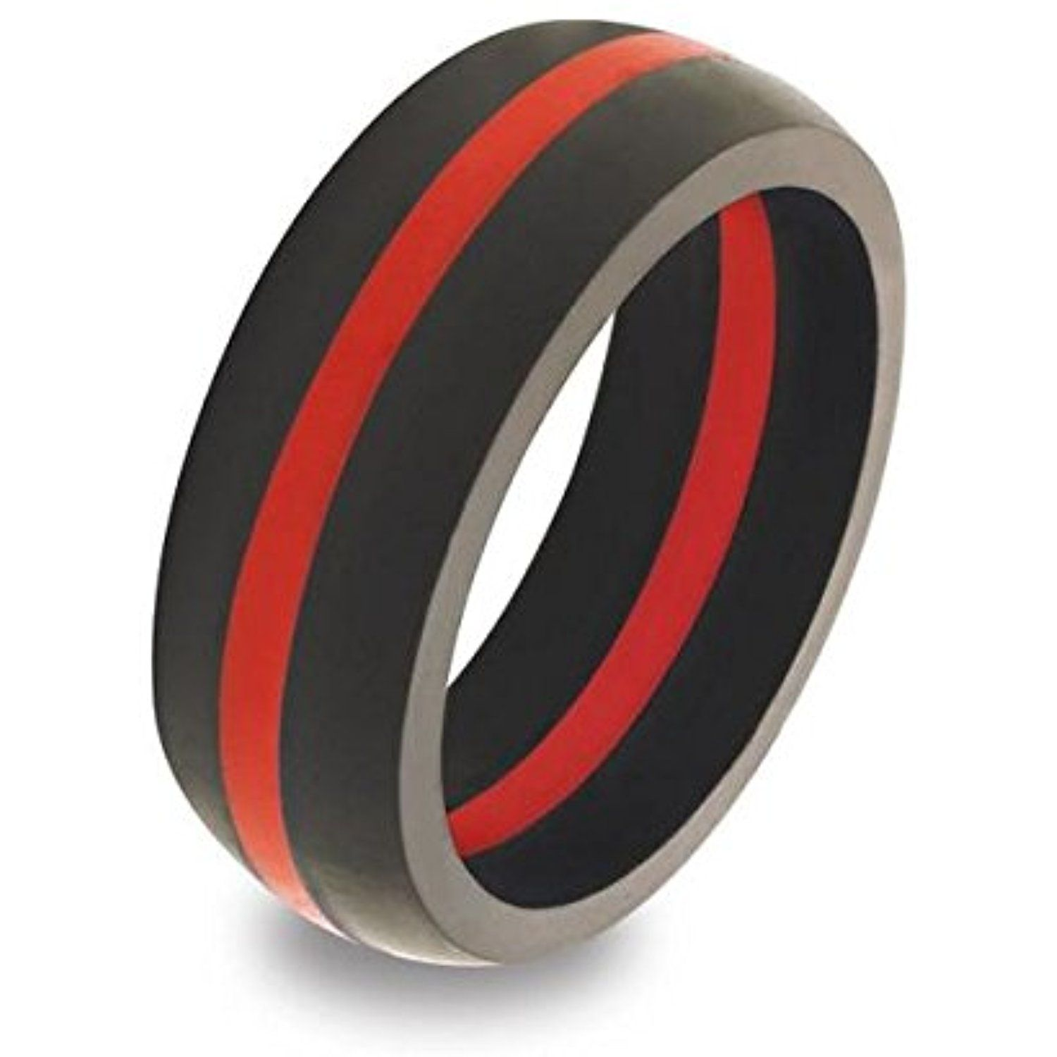 Thin Red Line Firefighter Silicone Ring Wedding Band