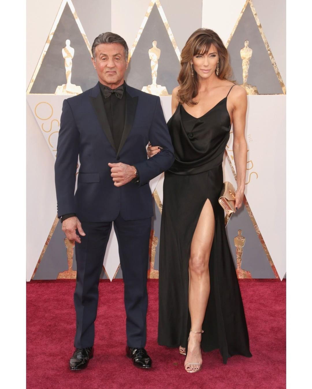 Sylvester Stallone's wife Jennifer Flavin wears Saint Laurent at Oscars 2016