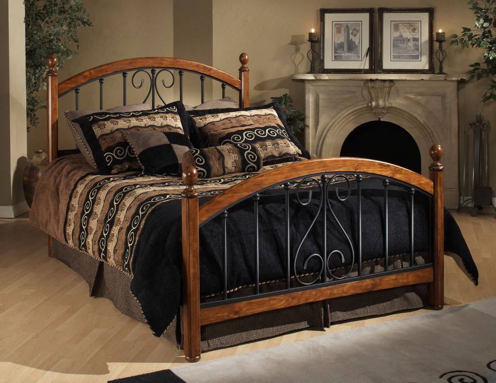 Four Poster Bed Metal Wood Headboard Footboard Bedroom Furniture