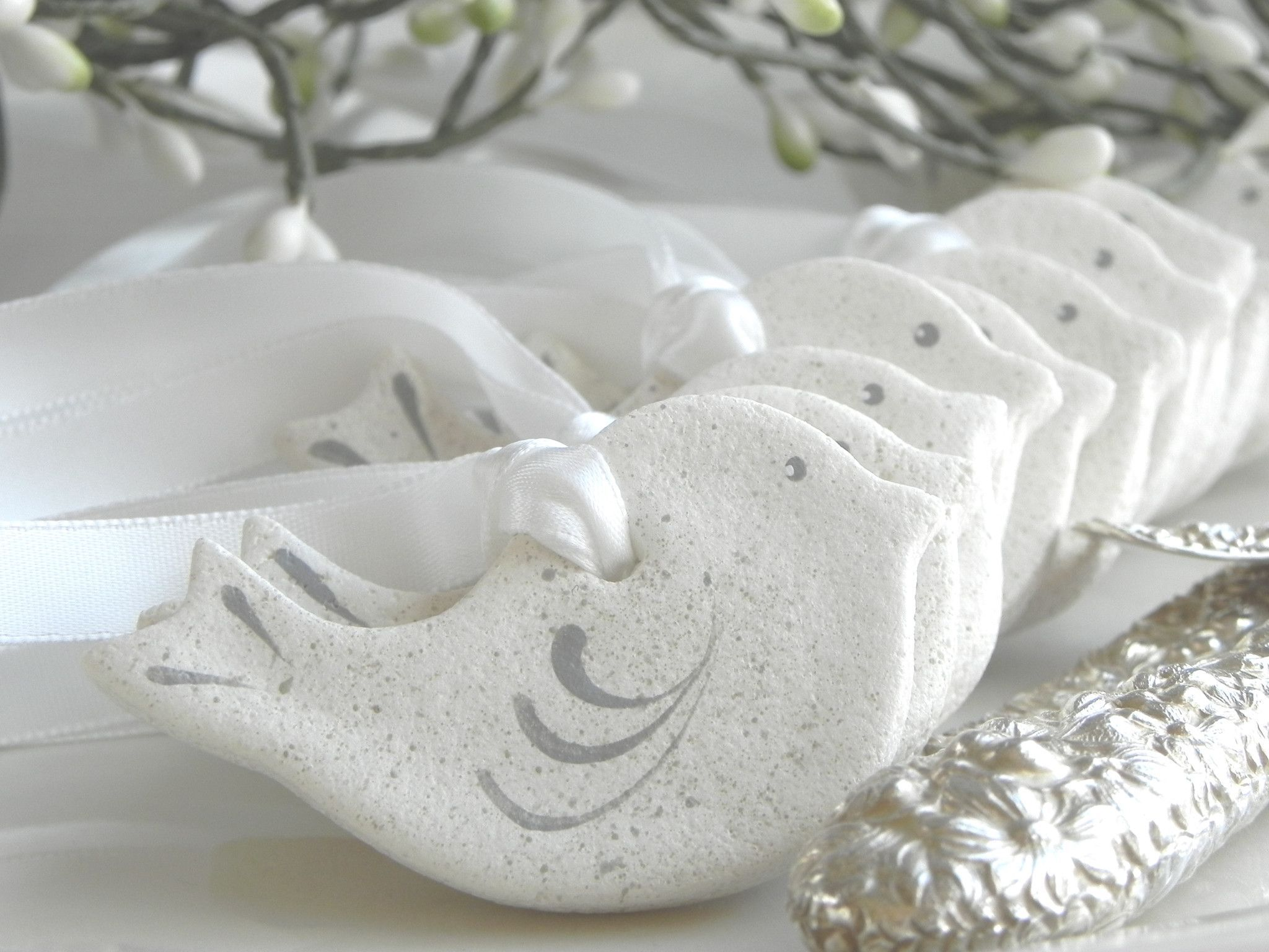 Mini Dove Salt Dough Ornaments 2 inch Set of 10 Wholesale Wedding ...
